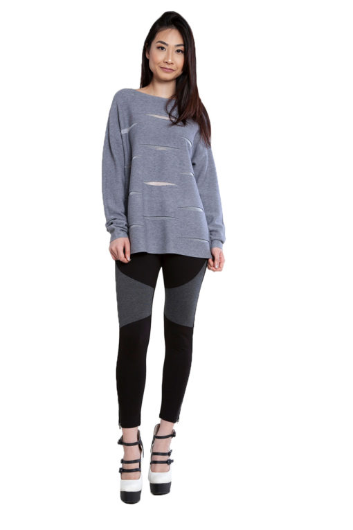 grey knit cut out sweater- front