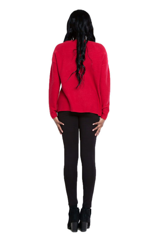 red knit cut out sweater- back