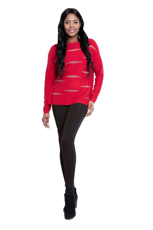 red knit cut out sweater- front