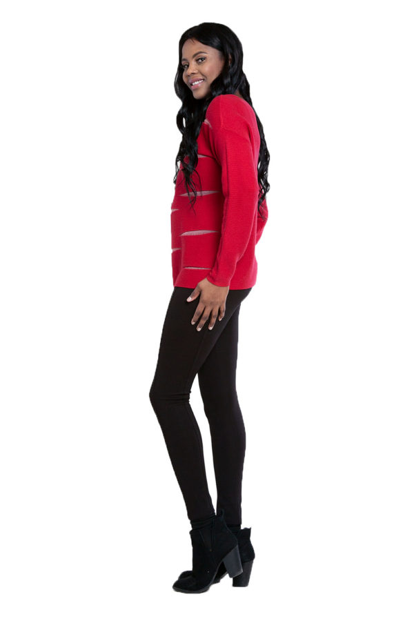 red knit cut out sweater- side