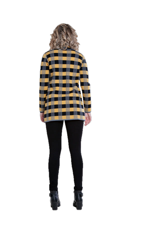 yellow plaid knit open cardigan- back