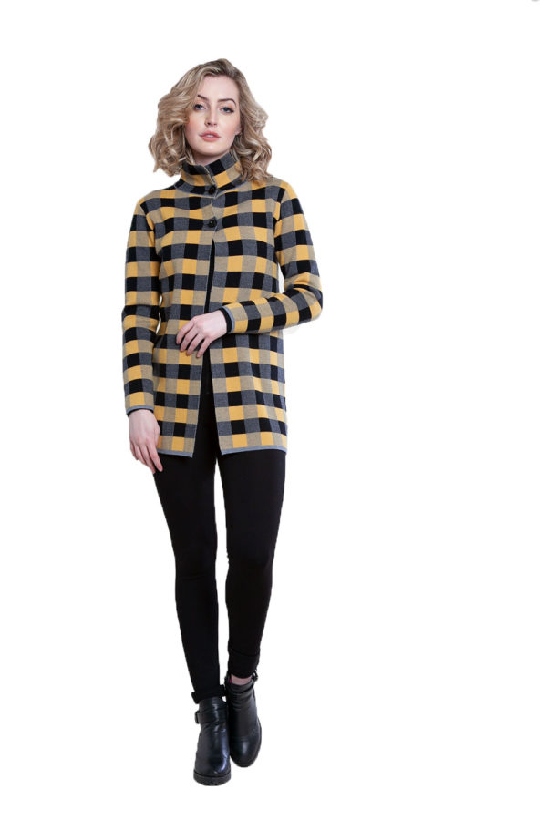 yellow plaid knit open cardigan- front