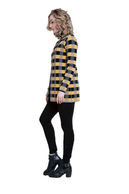 yellow plaid knit open cardigan- side