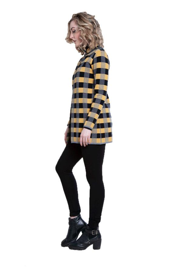 yellow plaid knit open cardigan- side