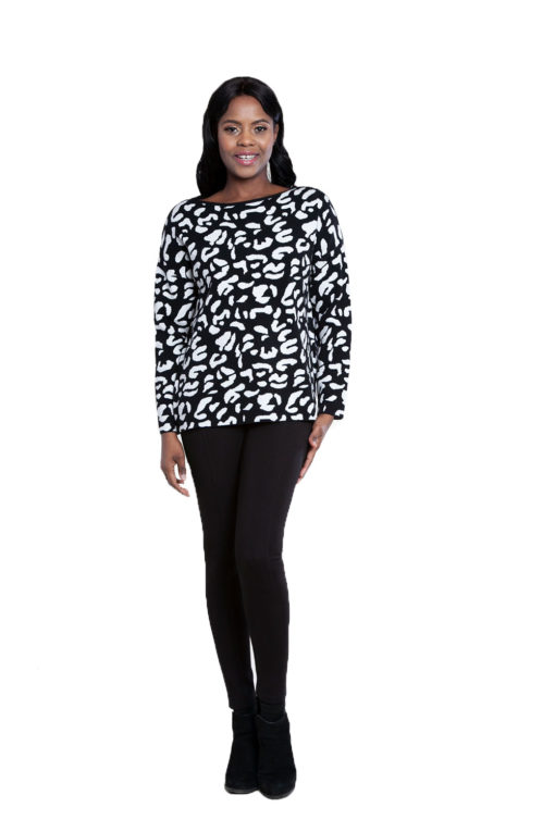 black leopard sweater- front