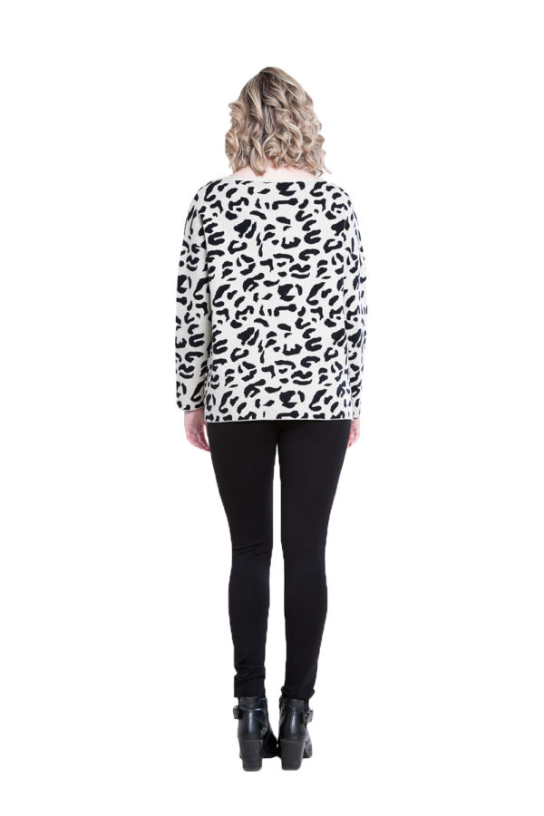 taupe leopard sweater- back