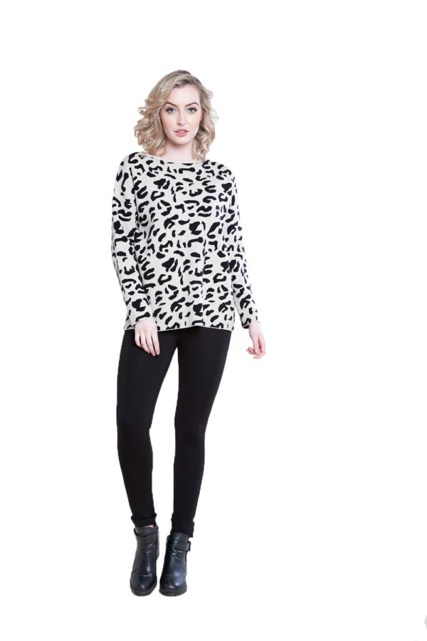 taupe leopard sweater- front
