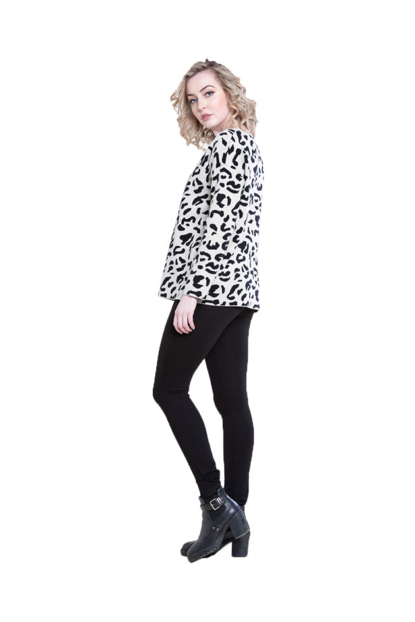 taupe leopard sweater- side