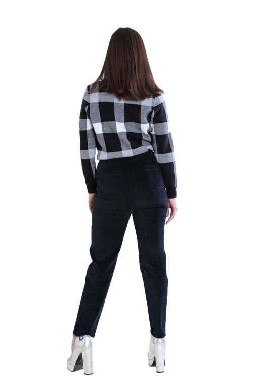 knit black plaid sweater- back
