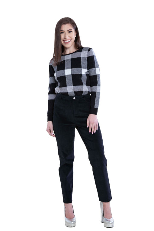 knit plaid black sweater- front
