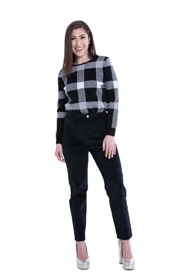 knit plaid black sweater- front