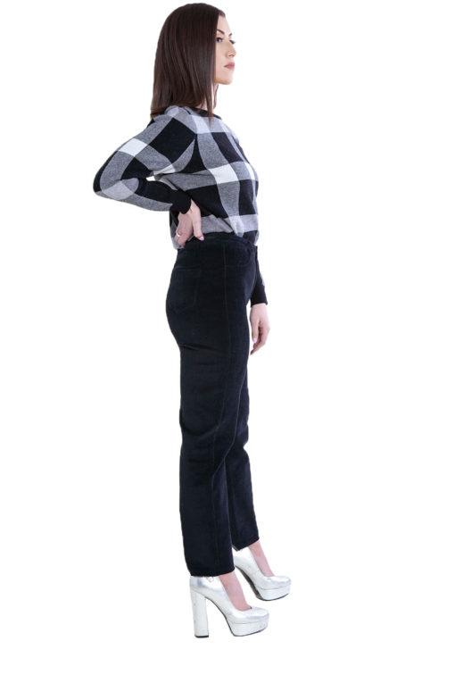 knit plaid black sweater- side