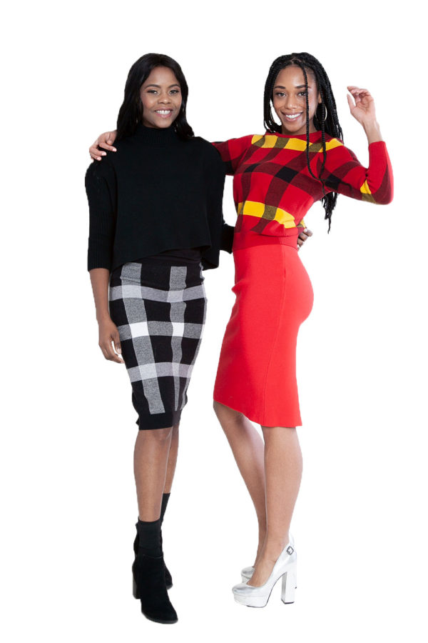 red knit skirt and black plaid knit skirt and knit plaid red sweater- side