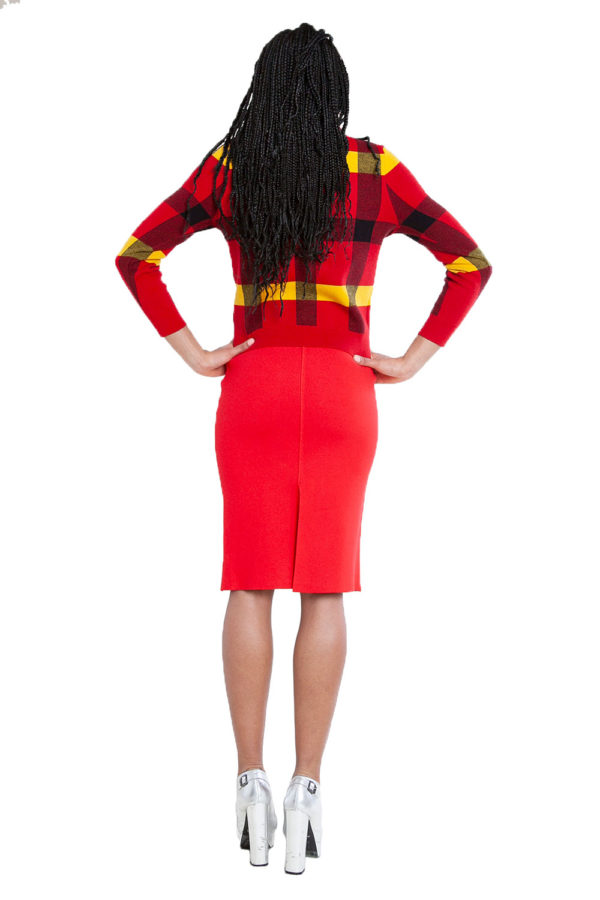 red knit skirt and knit plaid red sweater- back