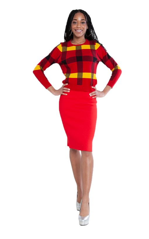 red knit skirt and knit plaid red sweater- front