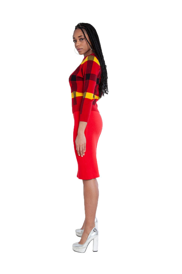 red knit skirt and knit plaid red sweater- side