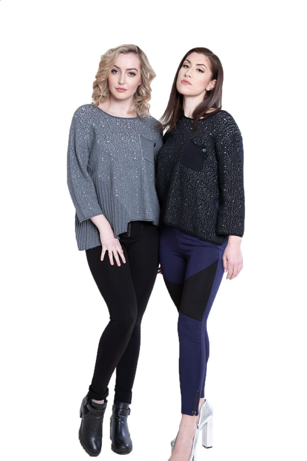grey and black pleat front tops- front