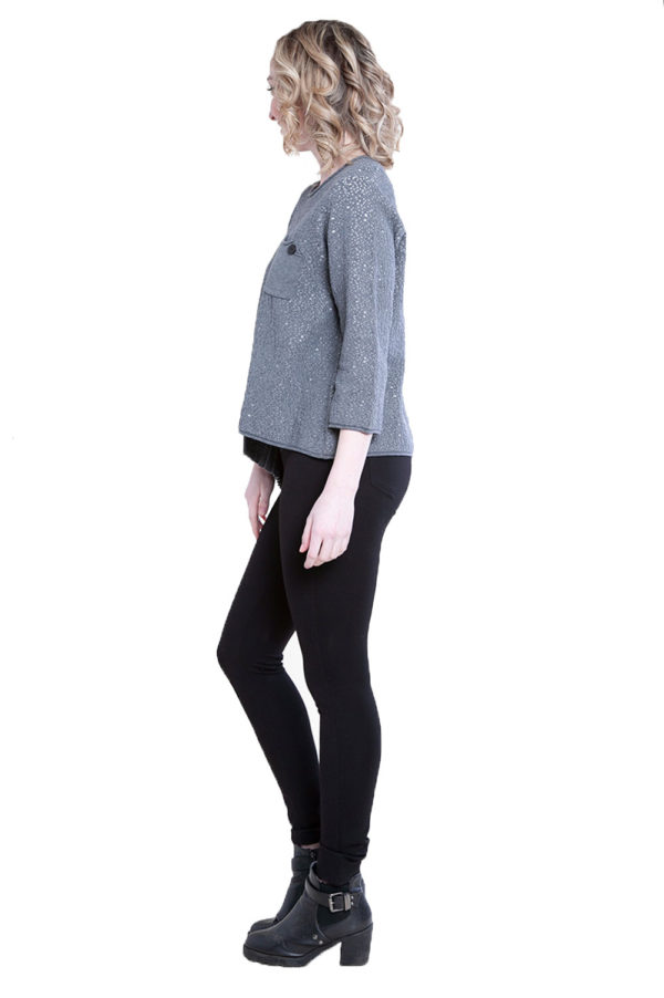 grey pleat front top- side