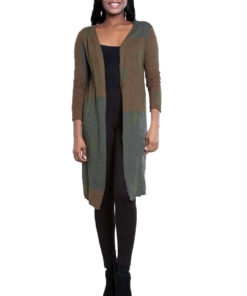 green printed open cardigan- front