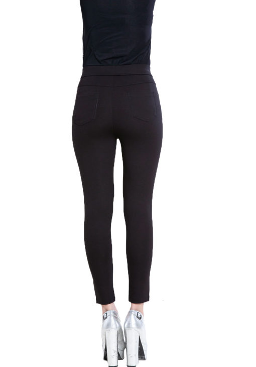 black and grey contrast patchwork jeggings- back