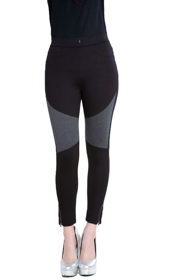 black and grey contrast patchwork jeggings- front