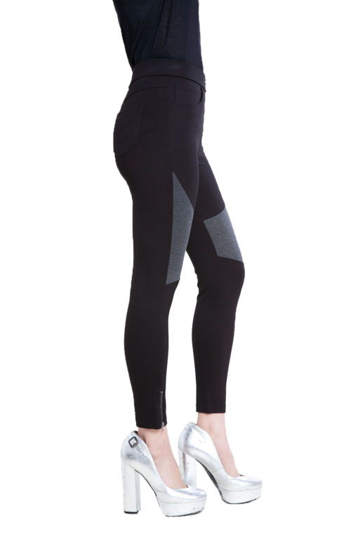black and grey contrast patchwork jeggings- side
