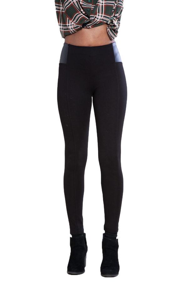 black faux leather side leggings- front