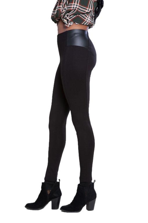 black faux leather side leggings- side