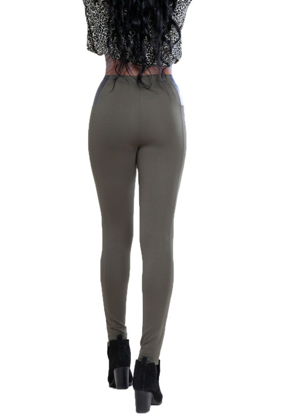olive faux leather side leggings- back