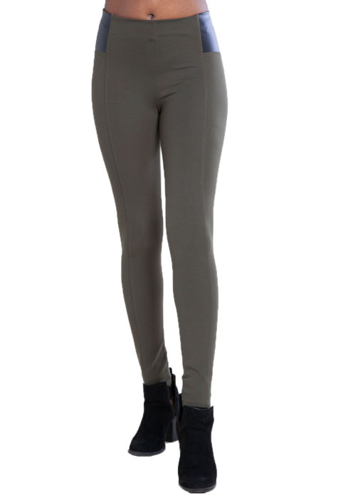 olive faux leather side leggings- front