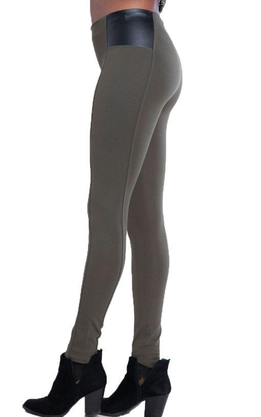 olive faux leather side leggings- side