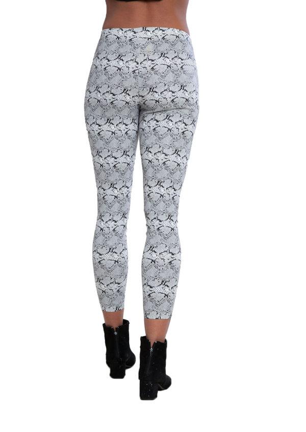snake print white leggings- back