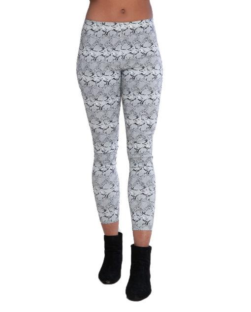 snake print white leggings- front