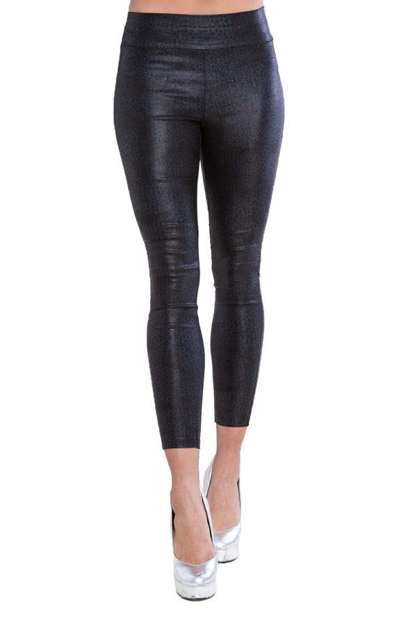 printed black leggings- front
