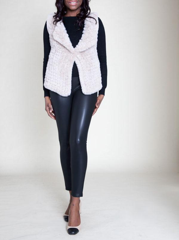 faux fur beige vest- front