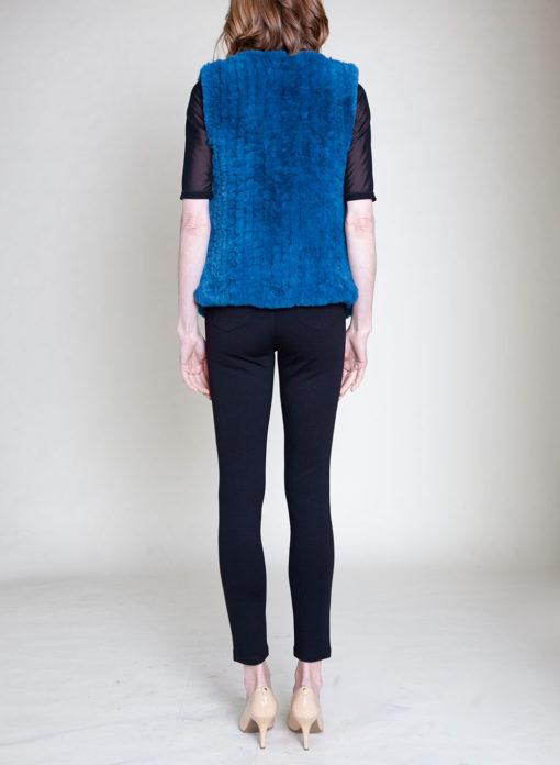 faux fur teal vest- back