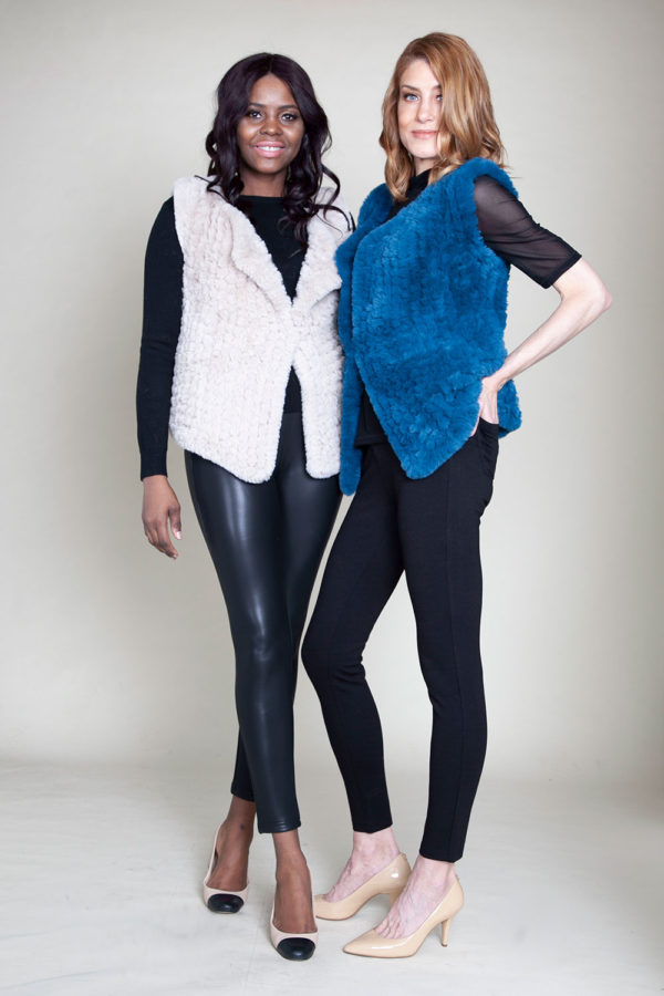 faux fur teal and beige vest- front