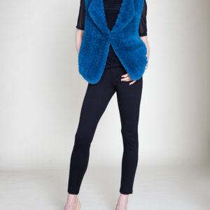 faux fur teal vest- front