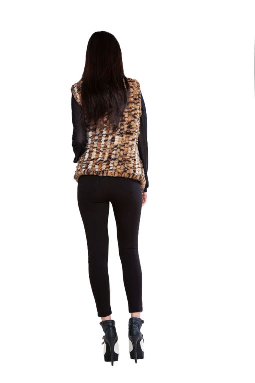 animal print faux fur vest- back