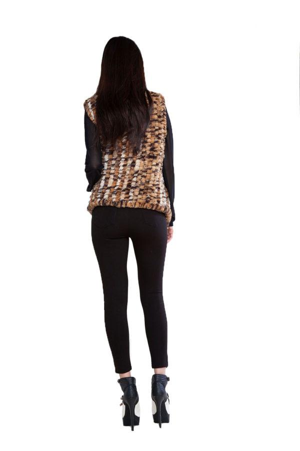 animal print faux fur vest- back