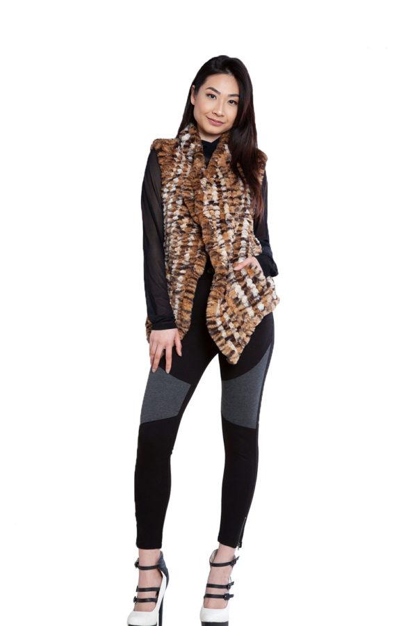 animal print faux fur vest- front