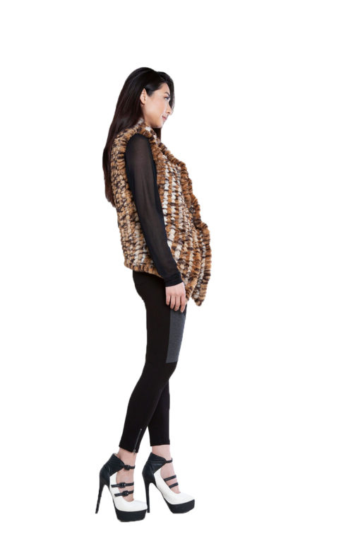 animal print faux fur vest- side