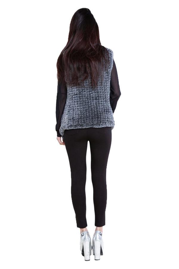 grey faux fur vest- back