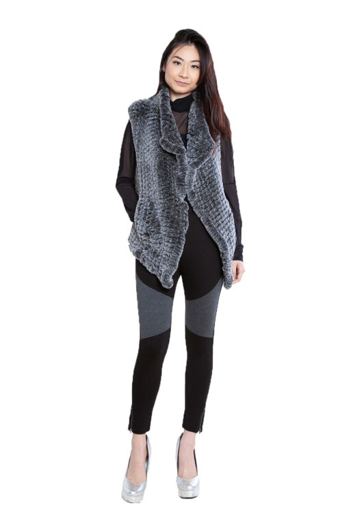 grey faux fur vest- front
