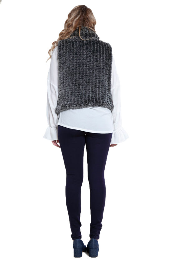 charcoal faux fur pullover- back