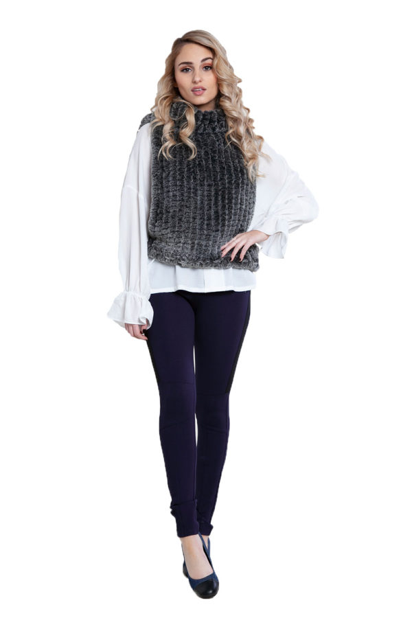 charcoal faux fur pullover- front