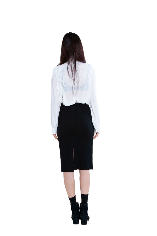 black knit skirt- back