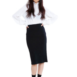 black knit skirt- front