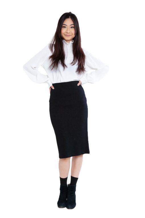 black knit skirt- front