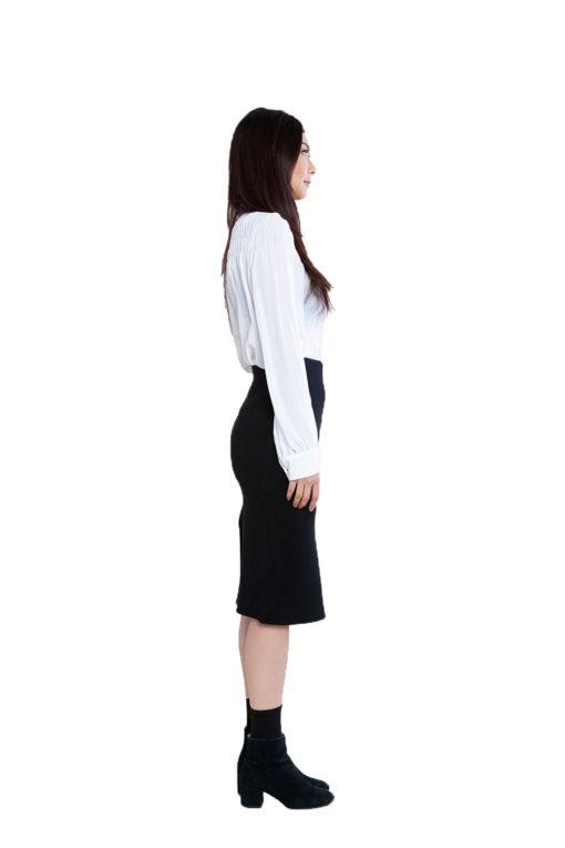 black knit skirt- side